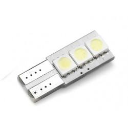 Żarówka samochodowa LED W5W T10 3 SMD 5050 CANBUS INTERLOOK