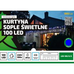 Kurtyna sople LED100/G/S niebieska zewnętrzna 4,25m OKEJ LUX