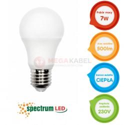 Żarówka LED GLS E-27 7W b.ciepła 3000K Spectrum