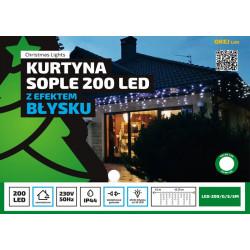Kurtyna sople LED-200/G/S/5M zimne efekt błysku zewnętrzne OKEJ LUX