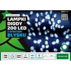 Lampki choinkowe LED 200 7,2W zimne zewnętrzne 20m FLASH OKEJ LUX