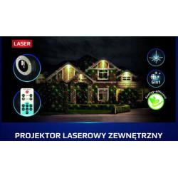 Projektor laserowy świąteczny 6in1 z pilotem IP65 61465 EKO-LIGHT