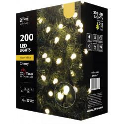 Lampki choinkowe kulki XMAS ciepły cherry timer 200LED 20m ZY1601T IP44 EMOS