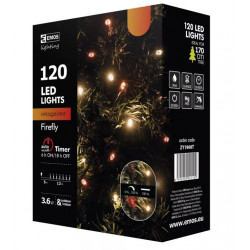 Lampki choinkowe świetliki XMAS vintage czerwony timer ZY1908T IP44 EMOS