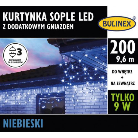 Kurtyna sople LED200 niebieska 9,6m 13-576 zewnętrzna + gniazdo Bulinex