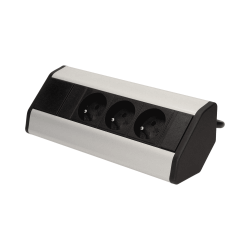 Gniazdo meblowe z przewodem 1,8m, 3x2P+Z srebrne ORNO
