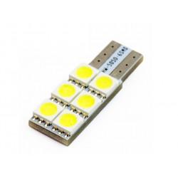 Żarówka samochodowa LED W5W T10 6 SMD 5050 CANBUS INTERLOOK