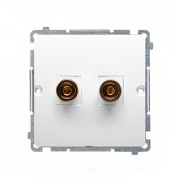 Basic Gniazdo głośnikowe podwójne BMGLP2.02/11 biały SIMON
