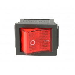 Przełącznik kołyskowy 2-pola podświetlany czerwony 250V TES-42