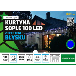 Kurtyna gwiezdna LED 100 niebieska zewnetrzne 8 FUNKCJI OKEJ LUX