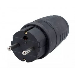 Wtyczka gumowa z uziemieniem IP44 16/250 czarna WT-30G Elgotech