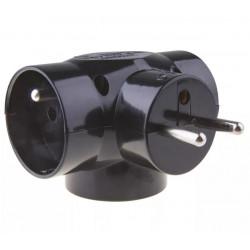 Rozgałęźnik wtyczkowy 3GN z uziemieniem czarny P0030 Emos