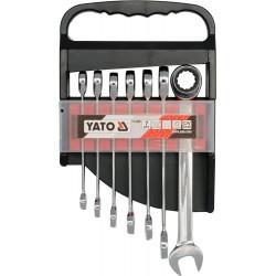 Zestaw kluczy płasko-oczkowych z grzechotką 10-19 mm, kpl 7 szt. YATO