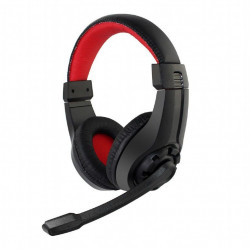 Słuchawki przewodowe z mikrofonem nauszne GHS-01 black red GEMBIRD