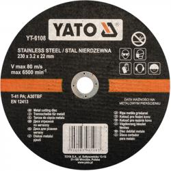 Tarcza do cięcia stali nierdzewnej YT-6108 YATO