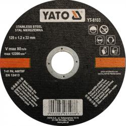 Tarcza do cięcia stali nierdzewnej 125mm YT-6103 YATO