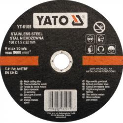 Tarcza do cięcia stali nierdzewnej 180x1.5x22mm YT-6105 YATO