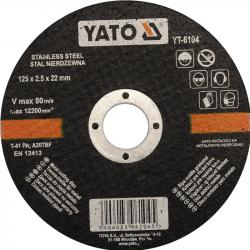 Tarcza do cięcia stali nierdzewnej 125x2,5x22mm YT-6104 YATO
