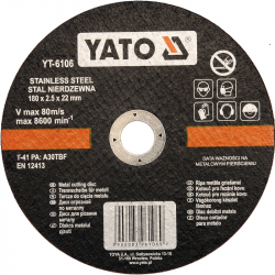 Tarcza do cięcia stali nierdzewnej 180x2,5x22mm YT-6106 YATO