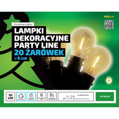 Lampki ogrodowe PARTY LINE LTP20ZP - 20 żarówek LED z żarnikiem - z wyłącznikiem czasowym OKEJ LUX