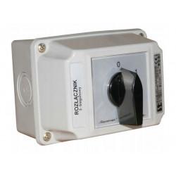 Łącznik krzywkowy 0-1 3P 25A w obudowie ŁK25R-2.8211OB2 IP 65 SPAMEL
